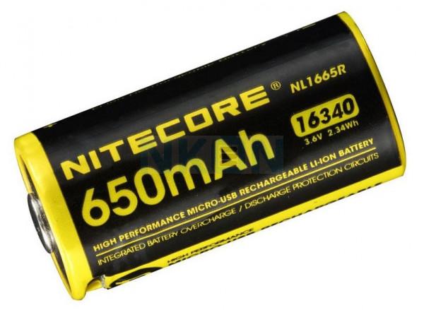 Nitecore 16340 NL1665R USB 650mAh (protected) - 2A