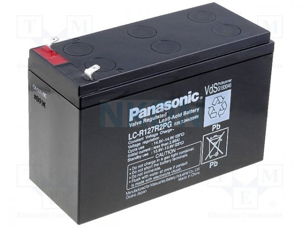 Panasonic 12V 7.2Ah Loodaccu (6.3mm)