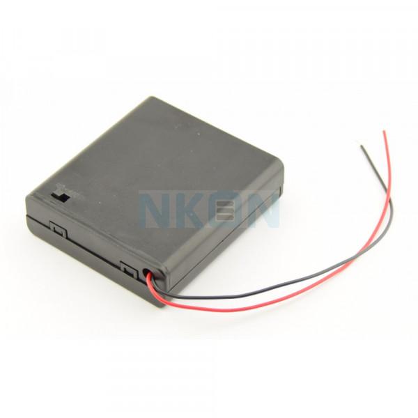 4x AA Batterijendoosje met losse draden en schakelaar