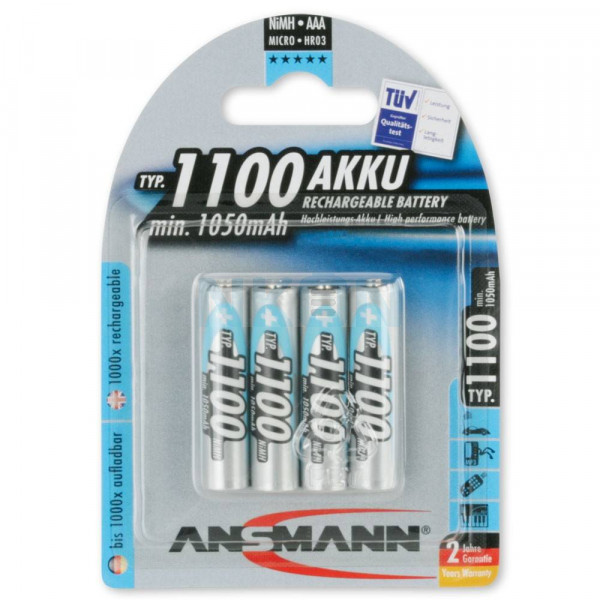 4 AAA Ansmann Typ 1100 Accu - 1050mAh