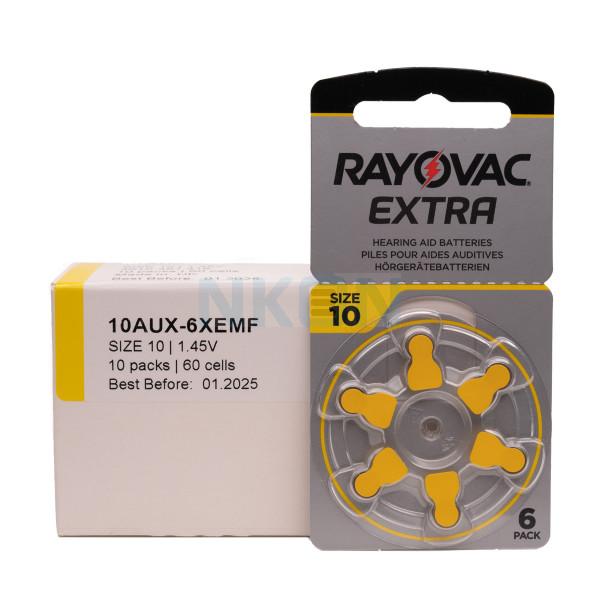 60x 10 Rayovac Extra hoorbatterijen