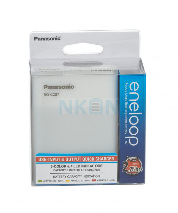 Panasonic Eneloop BQ-CC87 batterijlader + 4 AA Eneloop (1900mAh)