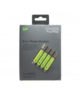 GP Recyko X411 - powerbank / batterijlader + 4 AA GP (2600mAh)