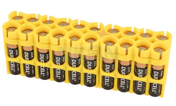 Suporte para 20 pilhas AAA Powerpax - Amarelo