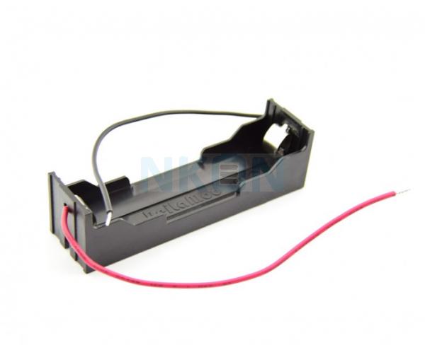 1x 18650 porta-bateria com contatos de grampo e fios soltos