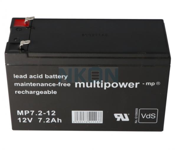 Multipower 12V 7.2Ah Bateria chumbo-ácido (4.8mm)