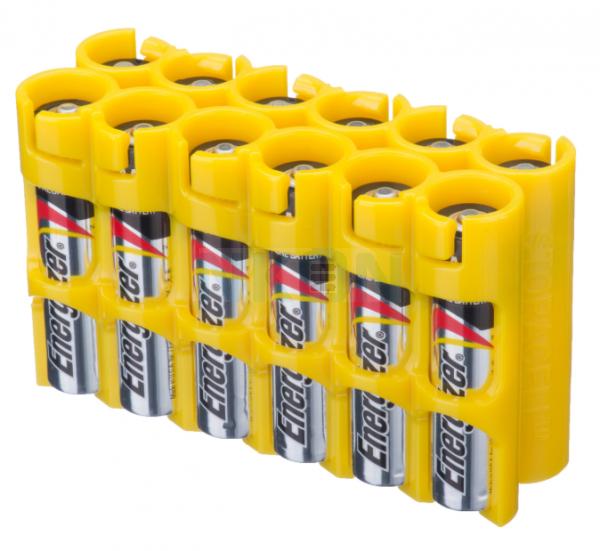 Suporte para 12 pilhas AAA Powerpax - Amarelo