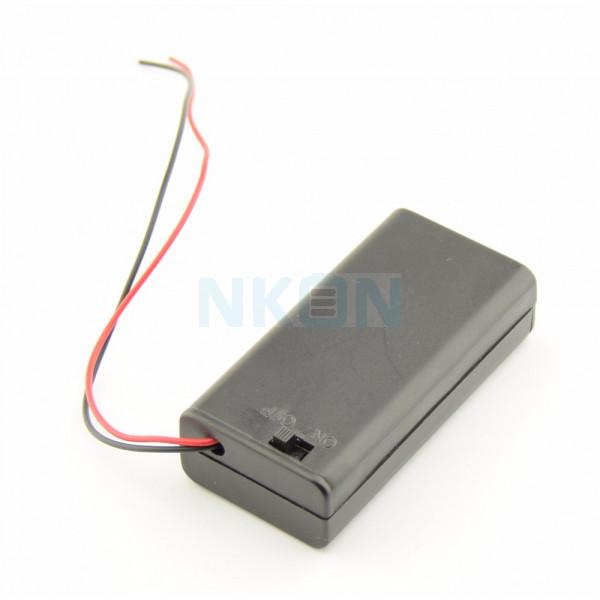 Caixa para 2x pilhas AA com fios soltos e interruptor