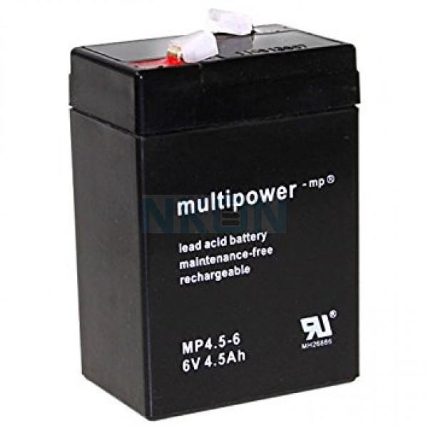 Multipower 6V 4.5Ah Bateria chumbo-ácido (4.8mm)