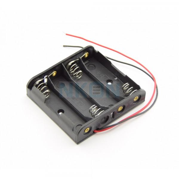 Suporte para 4x pilhas AA com fios soltos