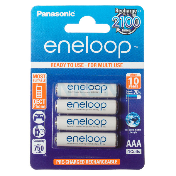 4 AAA Eneloop - Embalagem padrão varejo- 750mAh