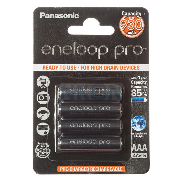 4 AAA Eneloop Pro - Embalagem padrão varejo- 930mAh
