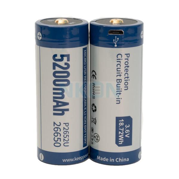 2x Keeppower 26650 5200mAh (protegido) - 8A - USB