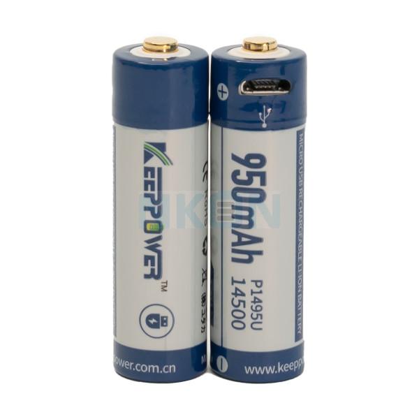 2x Keeppower 14500 950mAh (protegido) - 2A - USB