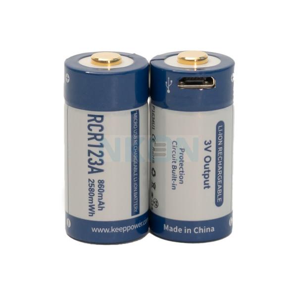 2x Keeppower RCR123A 860mAh (protegido) - 1.5A - USB