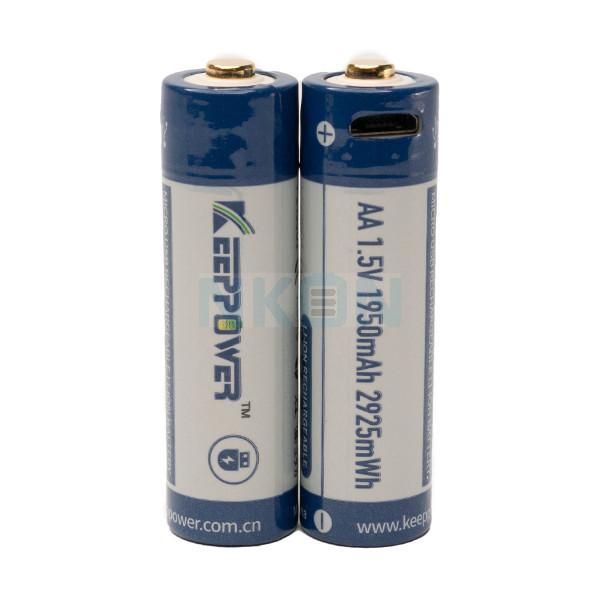 2x Keeppower AA 1950mAh (protegido) - 1.5A - USB