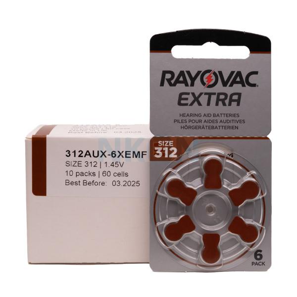 60x 312 Rayovac Extra Pilhas para aparelhos auditivos