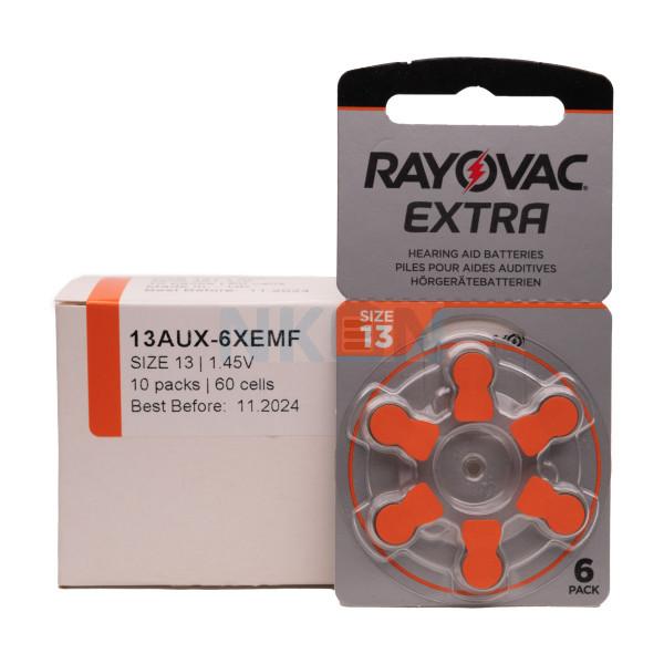 60x 13 Rayovac Extra Pilhas para aparelhos auditivos