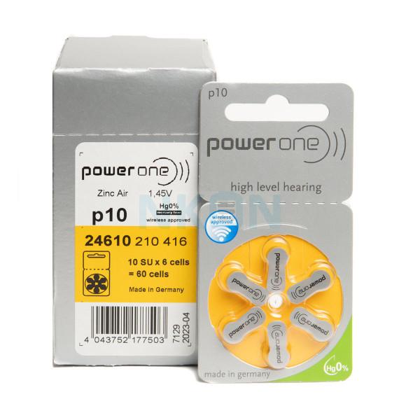 60x 10 PowerOne Pilhas para aparelhos auditivos