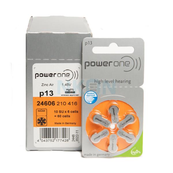 60x 13 PowerOne Pilhas para aparelhos auditivos