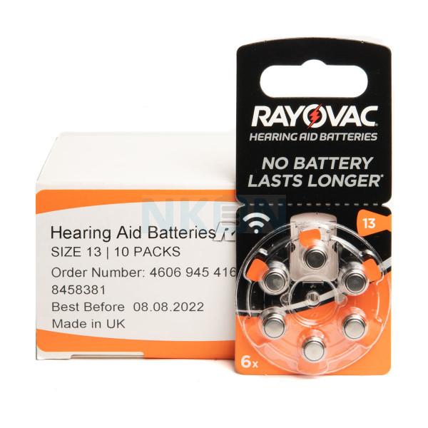 60x 13 Rayovac Acoustic Special Pilhas para aparelhos auditivos