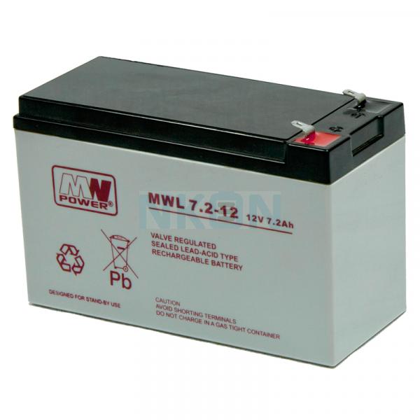 MWPower Deep Cycle 12V 7,2Ah Bateria de Chumbo-ácido