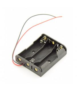 3x suporte para pilhas AA com fios soltos