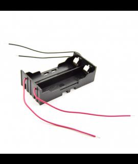 Suporte de bateria 2x 18650 com contatos de grampo e fios soltos