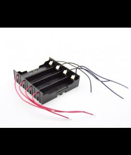 Suporte de bateria 4x 18650 com contatos terminais e fios soltos