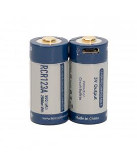 2x Keeppower RCR123A 860mAh (protected) - 1.5A - USB