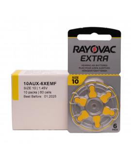60x 10 Rayovac Extra Pilhas para aparelhos auditivos