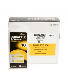 60x 10 Duracell Activair Pilhas para aparelhos auditivos