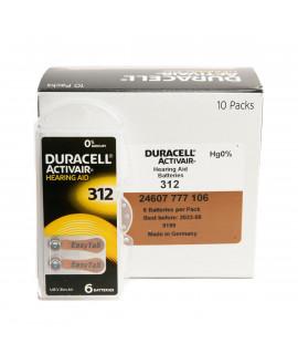 60x 312 Duracell Activair Pilhas para aparelhos auditivos