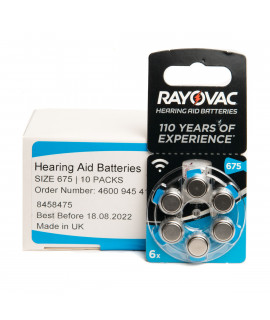 60x 675 Rayovac Acoustic Special Pilhas para aparelhos auditivos