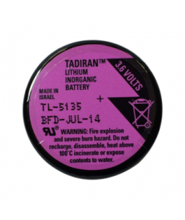 Bateria de lítio Tadiran TL-5134 / 1/10 D com 3 pinos de solda