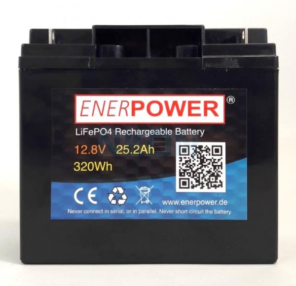 Enerpower 12.8V 25.2Ah - LiFePo4 (remplacement de la batterie au plomb)