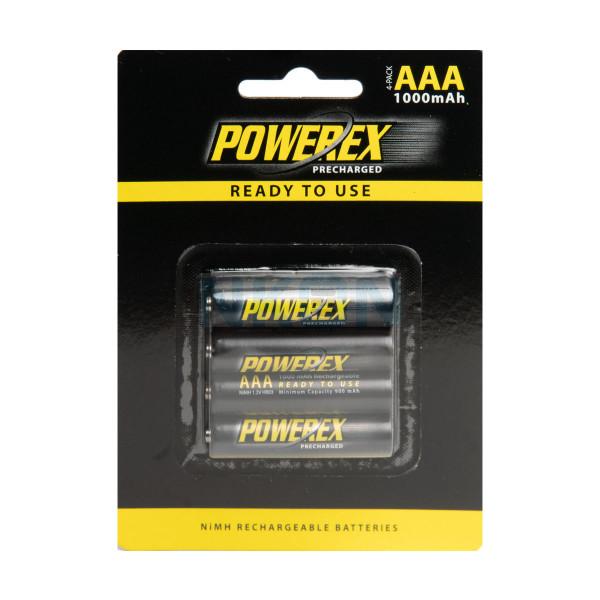 4 piles AAA Maha Powerex préchargées - blister - 950mAh