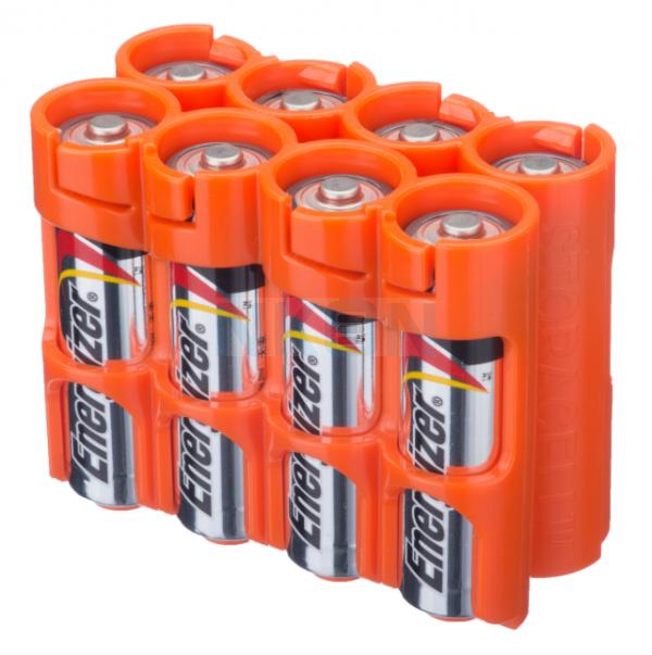 8 étuis de piles AA Powerpax - Orange
