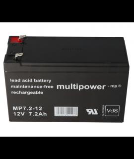 Multipower 12V 7.2Ah (4.8mm) Batterie plomb-acide