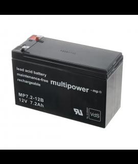 Multipower 12V 7.2Ah (6.3mm) Batterie au plomb