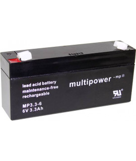 Multipower 6V 3.3Ah Batterie plomb-acide (4,8 mm)