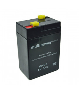 Multipower 6V 5Ah Batterie au plomb (4.8mm)