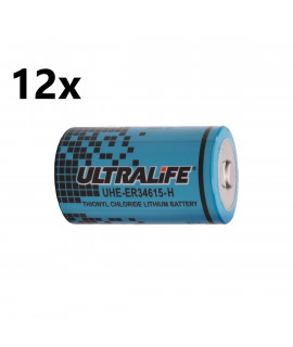 12x Ultralife UHE-ER34615-H / D (ER34615) - 3.6V
