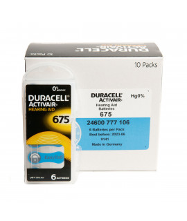 60x 675 Duracell Activair piles auditives