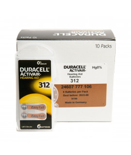 60x 312 Duracell Activair piles auditives