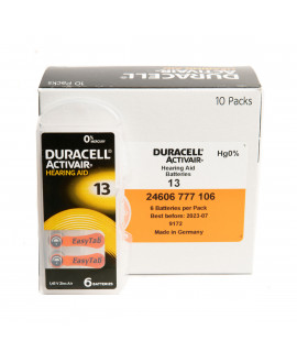 60x 13 Duracell Activair piles auditives