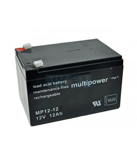Multipower 12V 12Ah (4.8mm) Batterie plomb-acide