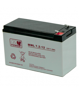 MWPower Deep Cycle 12V 7.2Ah Batterie plomb (6.3mm)