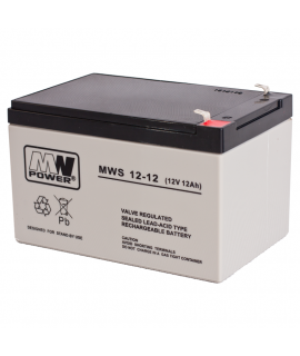 MWPower 12V 12Ah Batterie au plomb (6.3mm)