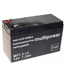 Multipower 12V 7.2Ah (4.8mm) Batterie plomb-acide